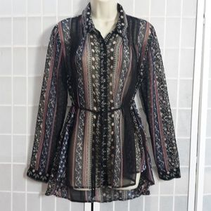 FREE PEOPLE Boho Sheer Printed Tie Waist Shirt M